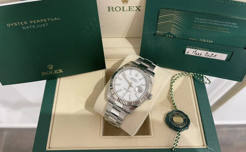 ROLEX DATEJUST CANNELE OYSTER BLANCHE 41MM